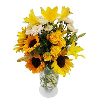 Lush- Yellow Roses-Sunflower-Lillies-Vase- Arrangement