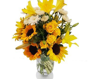 Lush- Yellow Roses-Sunflower-Lillies-Vase- Arrangement