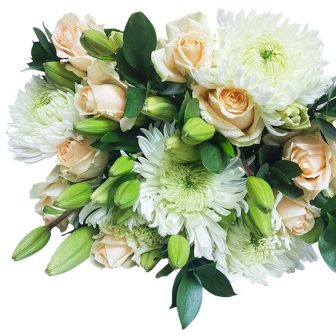 Peach Roses-white Lillies-Stem sprays-Bunch