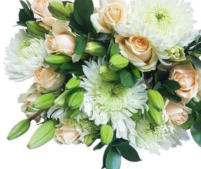 Peach Roses-white Lillies-Stem sprays-Bunch