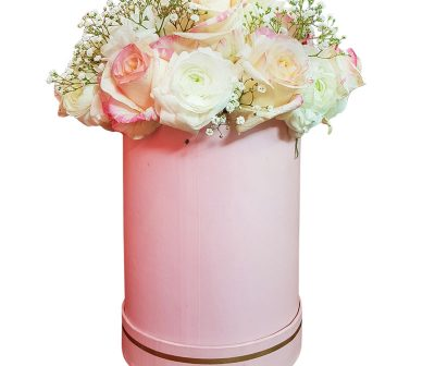 Petit-pink-Hat Box-Varigated Roses