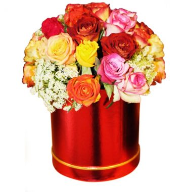 Rainbow Roses-Glossy Hat -Box arrangement