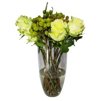 White Avalance Roses with kol kol in Vase