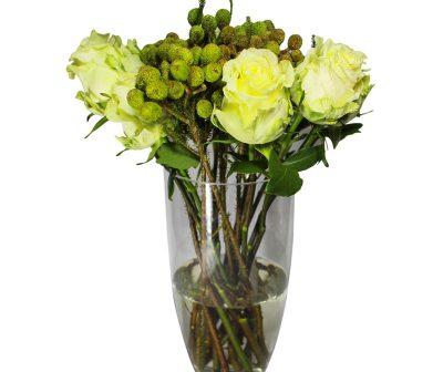 White Avalance Roses with kol kol in Vase