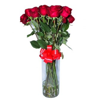 Long stem-large vase-red roses