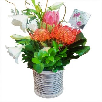 Rustic Look-Clay Vase-Protea-Pin coushin-Lillies