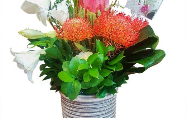 Rustic Look-Clay Vase-Protea-Pin coushin-Lillies