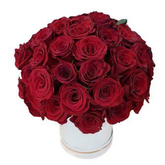 Red Roses White Hat Box