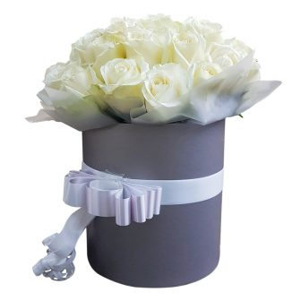 White Roses in Grey Hat Box